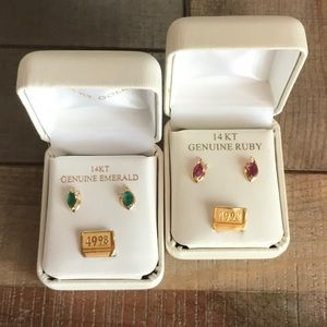 14k gold earrings 2 pairs ruby and emerald NIB